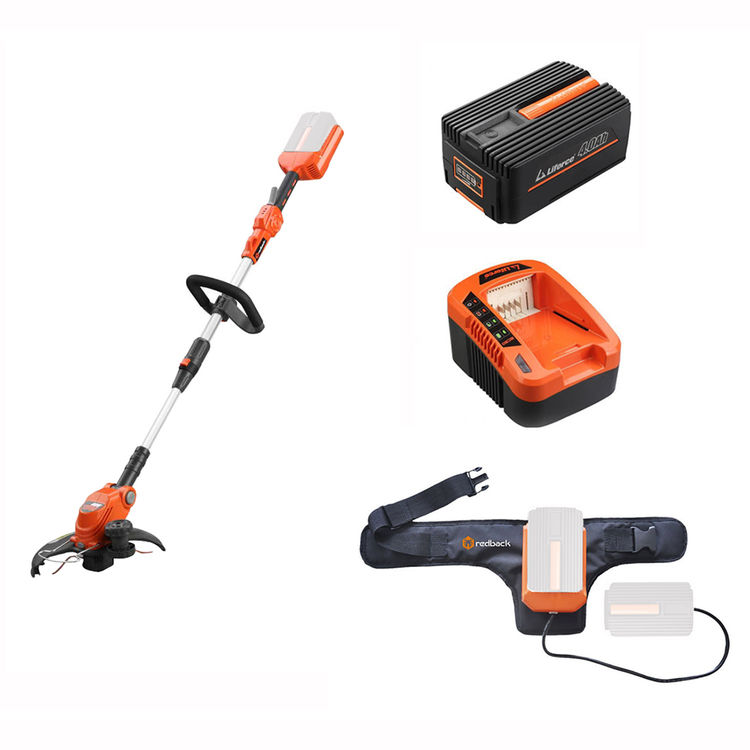 View 2 of Redback E312D-KIT6AWB Redback E312D-KIT4AWB Line Trimmer & Edger W/ 5A Charger, 4AH Battery, and Power Belt