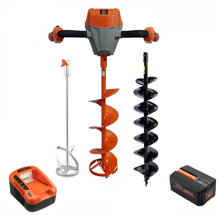 View 2 of Redback E808C-3KIT Redback 40V Earth Auger, Ice Auger, Mixing Blade, Charger, and 4Ah Battery - E808C-3KIT