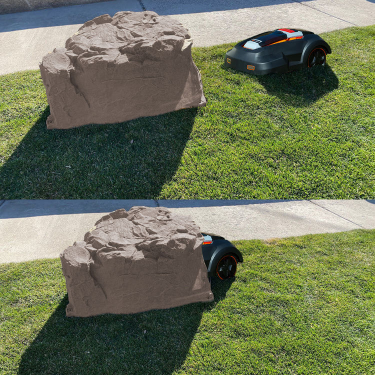 View 3 of Redback ROCK-RB MowRo ROCK-RB Faux Landscape Rock Cover for MowRo Mowers, Riverbed Brown